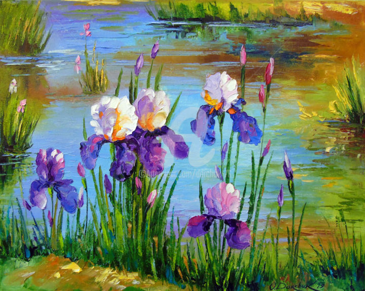 Iris at the pond - Painting,  15.8x19.7x0.8 in, ©2019 by OLHA -                                                                                                                                                                                                                                                                                                                                                                                                                                                                                                                                                                                                                                                                                                                                                                          Figurative, figurative-594, Botanic, Seasons, Interiors, Landscape, Nature, oil, painting, nature, art, flowers, pond, irises, colorful, colorfull