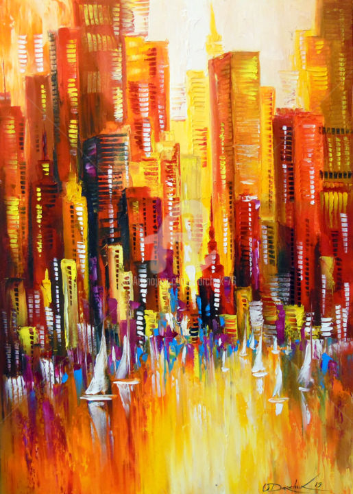 Sunny Los Angeles - © 2019 Los Angeles, oil, painting, abstract, abstraction, colorful, colorfull, city Opere d'arte online
