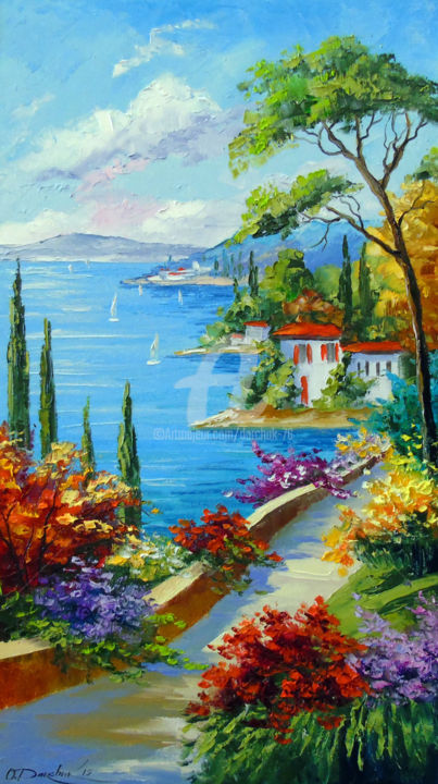 Sunny beach by the sea - Painting,  70x40x2 cm ©2019 by OLHA -                                                                                                        Figurative Art, Impressionism, Architecture, Botanic, Seasons, Mountainscape, Tree, oil, nature, sea, flowers art, colorful, colorfull