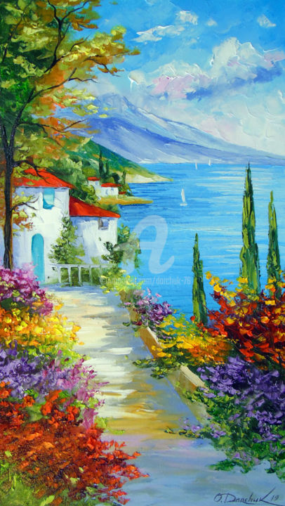 Midday by the sea - © 2019 oil, painting, nature art, colorful, colorfull, canvas, landscape, sea art, trees, art Online Artworks