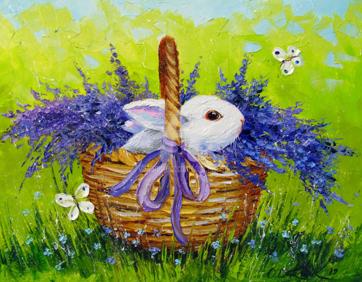 Rabbit in lavender - © 2019 Rabbit in lavender, oil, painting, animal, art, colorful, colorfull, nature, flowers, canvas Online Artworks
