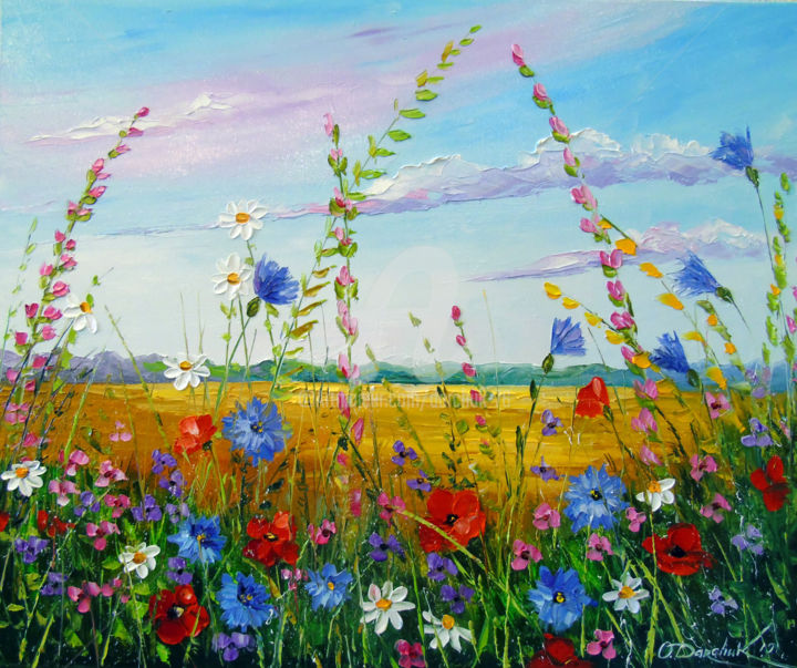 Field in summer flowers - Painting,  19.7x23.6x0.8 in, ©2019 by OLHA -                                                                                                                                                                                                                                                                                                                                                                                                                                                                                                                                                                                                                                                                                                                              Figurative, figurative-594, Botanic, Interiors, Landscape, Nature, Flower, oil, painting, nature, flowers art, colorful, colorfull, landscape, field art