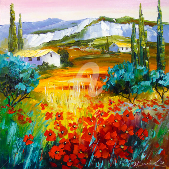 Summer in the mountains - Painting,  19.7x19.7x0.8 in, ©2019 by OLHA -                                                                                                                                                                                                                                                                                                                                                                                                                                                                                                                                                                                                                                                                                                                                                                                                                      Figurative, figurative-594, Botanic, Seasons, Mountainscape, Landscape, Nature, oil, painting, nature, summer art, nature art, colorful, colorfull, landscape art, flowers, poppies