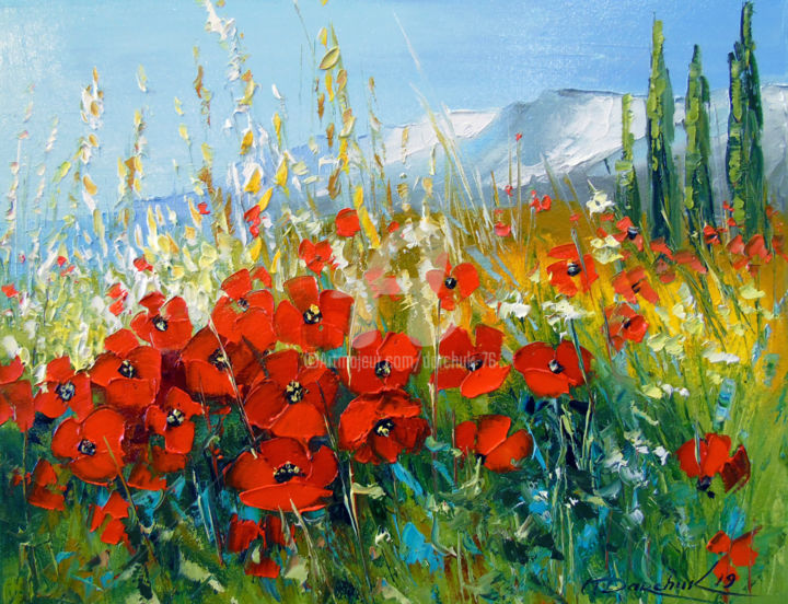 Summer poppies - Painting,  13.8x17.7x3.2 in ©2019 by OLHA -                                                                                                        Figurative Art, Impressionism, Botanic, Seasons, Landscape, Nature, Flower, oil, painting, landscape, nature, flowers, poppies, art, colorful, colorfull, canvas