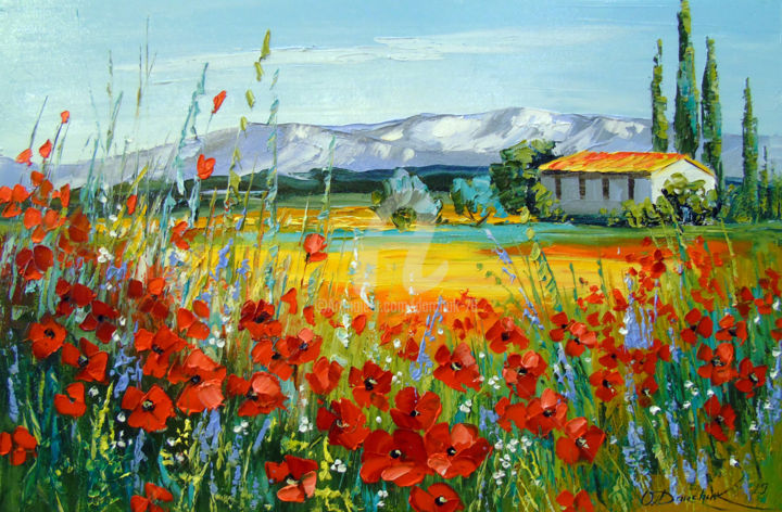 Poppy field near the mountains - Painting,  15.8x23.6x0.8 in ©2019 by OLHA -                                                                                                        Figurative Art, Impressionism, Botanic, Seasons, Landscape, Nature, Flower, poppies art, nature, oil, painting, flowers art, summer art, colorful, colorfull