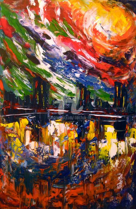 Bright storm over the city - Painting,  23.6x15.8x0.8 in ©2019 by OLHA -                                                                                                                    Abstract Art, Abstract Expressionism, Figurative Art, Abstract Art, Architecture, Cities, Cityscape, Interiors, acrylic art, painting, colorful, abstract, abstraction, colorfull, city, storm