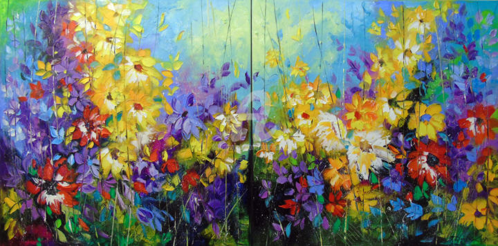 Bright melody 140x70cm - Painting,  27.6x55.1x0.8 in, ©2019 by OLHA -                                                                                                                                                                                                                                                                                                                                                                                                                                                                                                                                                                                                                                                                                                                                                                                                                      Abstract, abstract-570, Abstract Art, Botanic, Interiors, Colors, Flower, oil, painting, nature, abstract, abstraction, art, diptych, bright painting, colorful art, multi-color