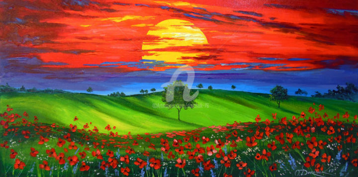Sunset over poppy field - Painting,  19.7x39.4x0.8 in ©2019 by OLHA -                                                                                                        Figurative Art, Impressionism, Botanic, Interiors, Landscape, Nature, Light, oil, painting, nature, landscape, art, colorful, colorfull, flowers, poppies, sun, sunset art, trees, field art
