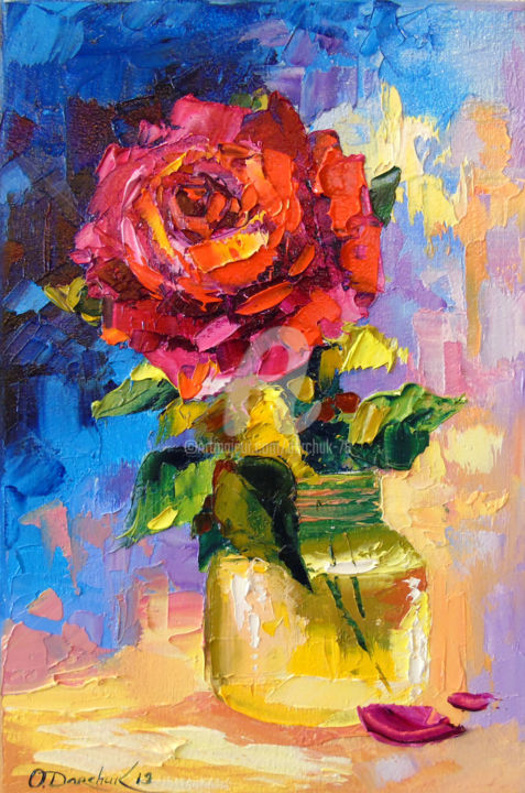 Rose for you - © 2019 oil, painting, flowers, art, colorful, colorfull, nature Online Artworks