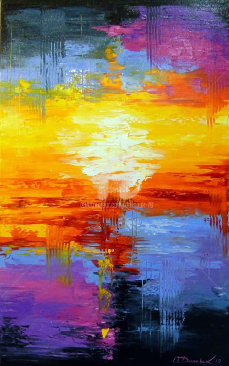 At sunset - Painting,  31.5x19.7x0.8 in, ©2019 by OLHA -                                                                                                                                                                                                                                                                                                                                                                                                                                                                                                                                                                                                                                                                                                                              Abstract, abstract-570, Abstract Art, Interiors, Places, Nature, Colors, oil, painting, nature, abstract, abstraction, colorful, colorfull abstract, funny