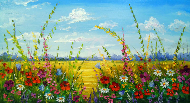 Flowers in the field - Painting,  19.7x35.4x0.8 in, ©2019 by OLHA -                                                                                                                                                                                                                                                                                                                                                                                                                                                                                                                                                                                                                                                                                                                                                                          Impressionism, impressionism-603, Botanic, Seasons, Landscape, Nature, Flower, flowers art, flowers artwork, oil, painting, sky art, field artwork, colorful, colorfull, nature art