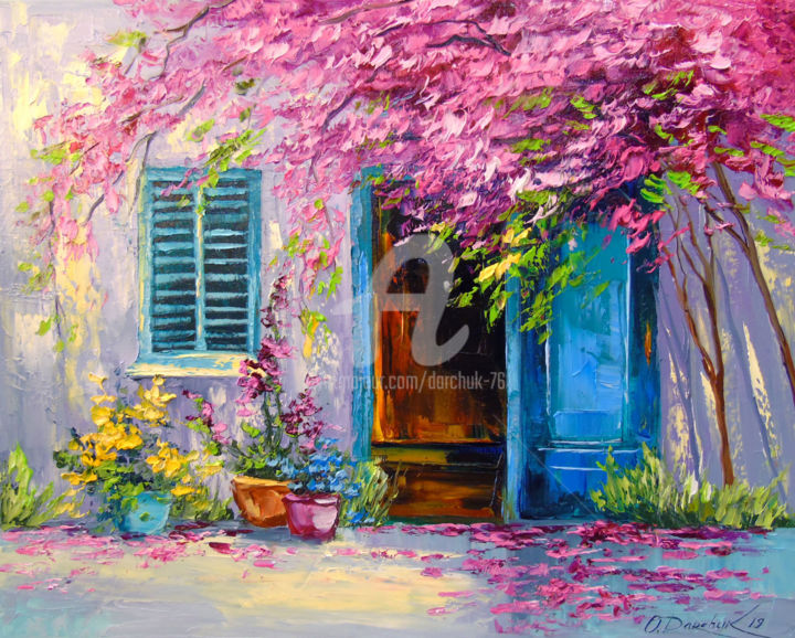 Blooming courtyard - Painting,  15.8x19.7x0.8 in, ©2019 by OLHA -                                                                                                                                                                                                                                                                                                                                                                                                                                                                                                                                                                                                                                                                                                                              Impressionism, impressionism-603, Architecture, Botanic, Cityscape, Tree, Flower, Blooming courtyard, oil painting, landscape, nature, artwork courtyard, colorful, colorfull, interior artwork