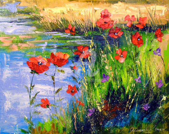 Poppies by the pond - Painting,  15.8x19.7x0.8 in, ©2020 by OLHA -                                                                                                                                                                                                                                                                                                                                                                                                                                                                                                                                                                                                                                                                                                                                                                                                                      Impressionism, impressionism-603, Botanic, Seasons, Landscape, Nature, Flower, Poppies by the pond, poppies painting, pond nature, poppies red, landscape art, water artwork, pond colorfull, pond painting, poppies flowers, poppies colorful