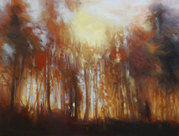 """Painting titled """"The first fire"""" by Daria Kucharczyk, Original Art, Oil"""