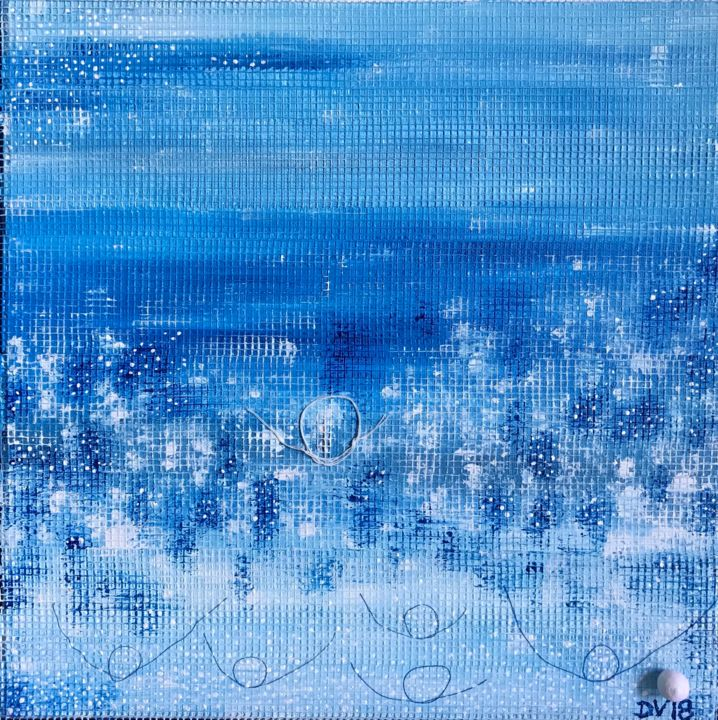 """HAPPY FOOTPRINTS"" - Painting,  11.8x11.8x0.6 in ©2018 by DVsnowflake -                                        Abstract Art, Other"