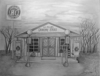 Old Gas Station Drawing Drawing of old general...