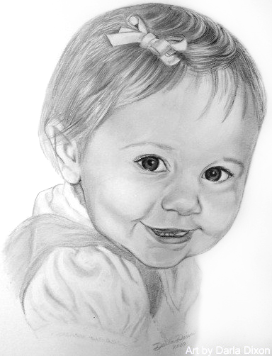 Pencil portrait of a little girl drawing 14x11 in 2009 by darla dixon