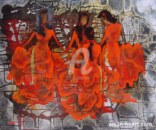 """Painting titled """"Ao dai Lacquer pain…"""" by Dat Tran Quoc, Original Art, Lacquer"""