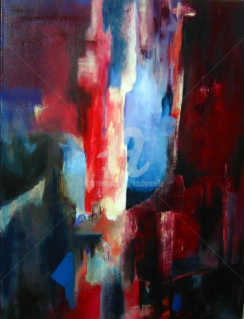 rouges crissements - Painting,  35.4x27.6x0.4 in, ©2008 by Noëlle Dauby -