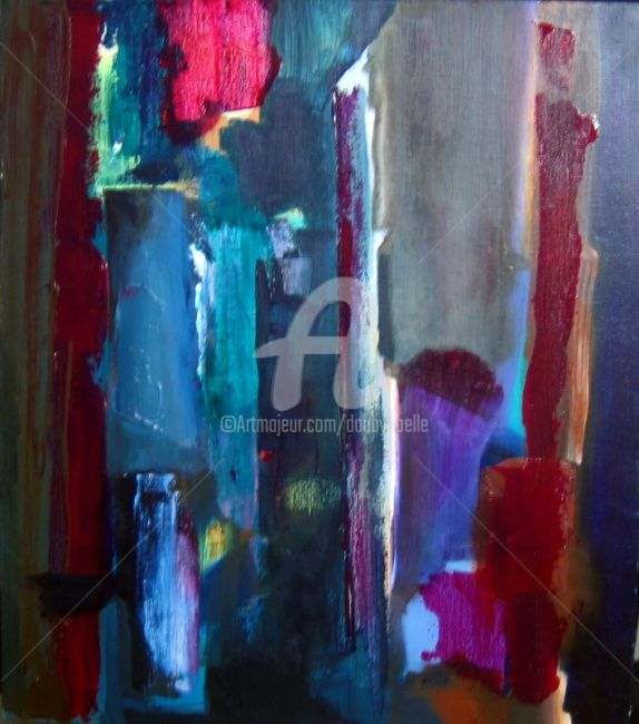 rubis lumière - Painting,  23.6x19.7 in, ©2008 by Noëlle Dauby -