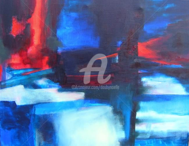 embrasements - Painting,  27.6x35.4 in, ©2009 by Noëlle Dauby -                                                                                                                                                                          Expressionism, expressionism-591, paysage imaginaire