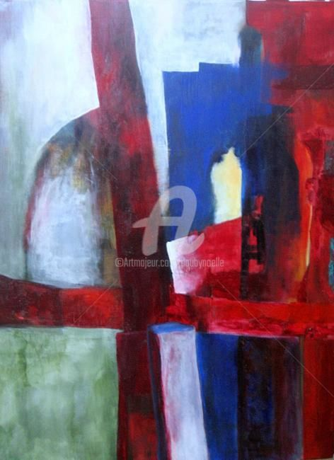 barricade - Painting,  31.5x23.6 in, ©2009 by Noëlle Dauby -                                                                                                                          Expressionism, expressionism-591