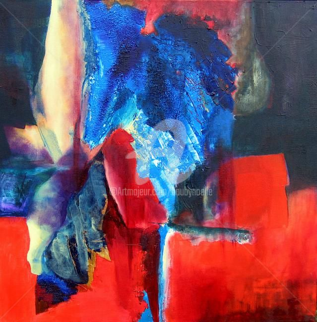 rouge sans titre - Painting,  60x60 cm ©2009 by Noëlle Dauby -                            Abstract Art, acrylique sur toile