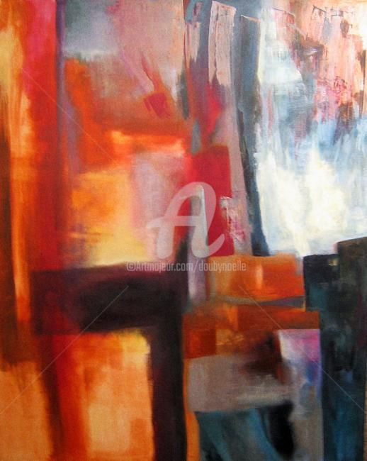 sans titre - Painting,  35.4x31.5 in, ©2009 by Noëlle Dauby -                                                                                                                                                                          Abstract, abstract-570, acrylique sur toile