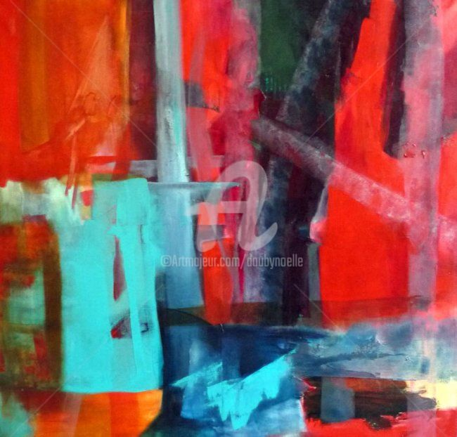 diagonale - Painting,  39.4x39.4 in, ©2010 by Noëlle Dauby -                                                                                                                                                                          Abstract, abstract-570, acrylique sur toile