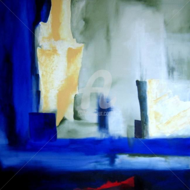 prussian blue - Painting,  100x100 cm ©2010 by Noëlle Dauby -                            Abstract Art, paysage