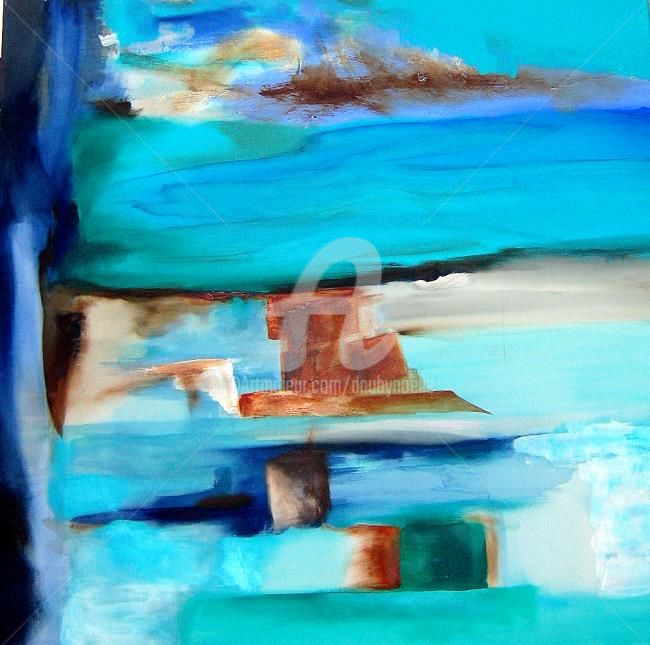 strates bleues - Painting,  39.4x39.4 in, ©2010 by Noëlle Dauby -                                                              paysage abstrait
