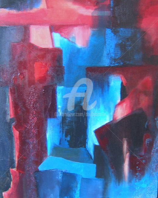 sans titre red 2 - Painting,  19.7x15.8 in, ©2012 by Noëlle Dauby -                                                              acrylique sur toile