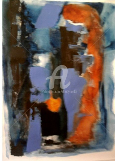 mandarine - Painting,  39.4x35.4 in, ©2011 by Noëlle Dauby -                                                              acrylique sur toile