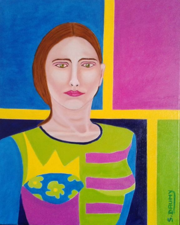 Femme et reine - Painting,  19.7x15.8x1.6 in, ©2017 by Sophie Daumy -                                                                                                                                                                                                                                                                                                                                                                                                          Figurative, figurative-594, Women, artwork_cat.Colors, Portraits, femme, portrait, couleur