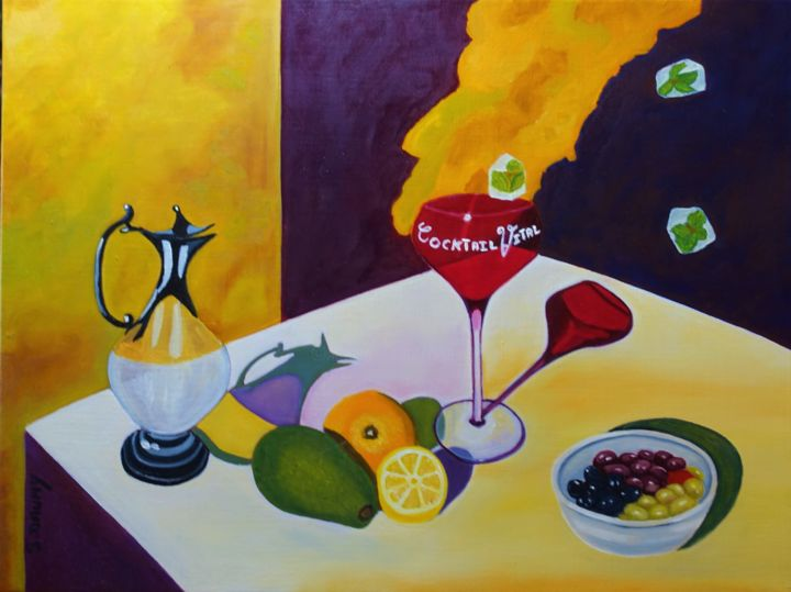 Cocktail vital - Painting,  18.1x24x0.8 in, ©2018 by Sophie Daumy -                                                                                                                                                                                                                                                                                                                  Figurative, figurative-594, Still life, nature morte, cocktail, vital