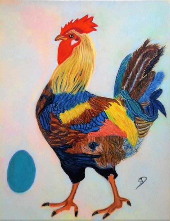 coq-art.jpg - Drawing,  11.8x9.5 in ©2018 by Sophie DAUMY -                                            Figurative Art, Animals, coq, animaux