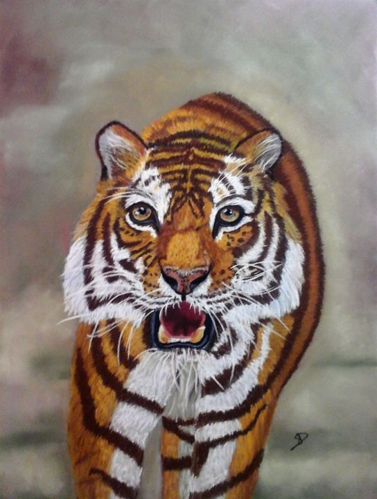 tigre art - Drawing,  15.8x11.8 in ©2018 by Sophie DAUMY -                                                                    Figurative Art, Animals, Nature, Portraits, tigre, nature, sauvage, portrait, animaux