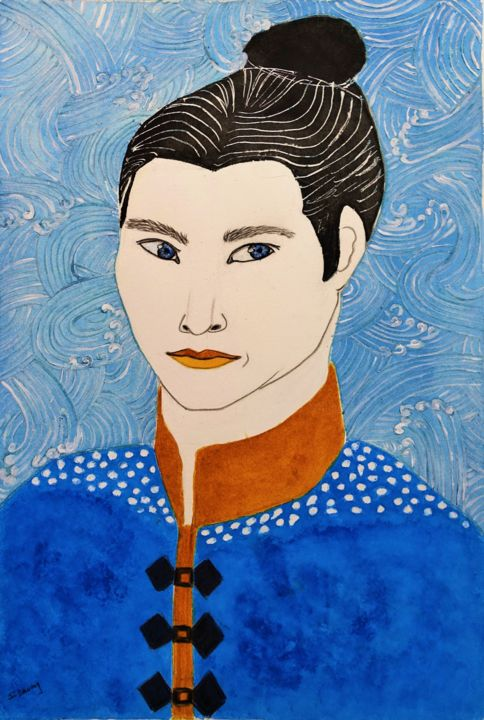 homme en bleu - Painting,  21.7x15.8 in ©2018 by Sophie DAUMY -                                                                                            Figurative Art, Love / Romance, Asia, Culture, Women, Men, estampe, homme, couple, portrait
