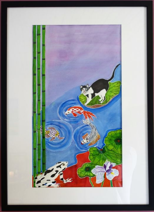 Chaponisant - Painting,  27.6x19.7x0.4 in, ©2019 by Sophie Daumy -                                                                                                                                                                                                                                                                                                                                                                                                                                                                                                  Figurative, figurative-594, Animals, Cats, Colors, Water, Fish, chat, eau, poisson