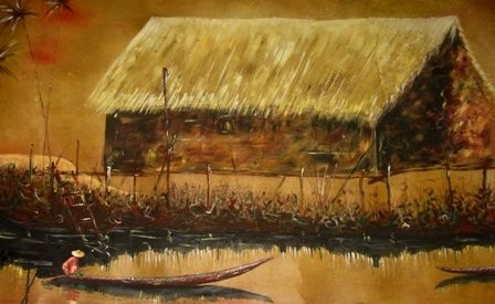 gentle paddle - Painting,  29x52x0.4 in, ©2011 by Davidmomodu -