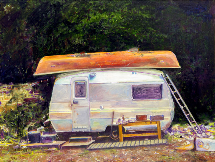 """Painting titled """"Home off Grid"""" by David Dodsworth, Original Art, Oil Mounted on Stretcher frame"""