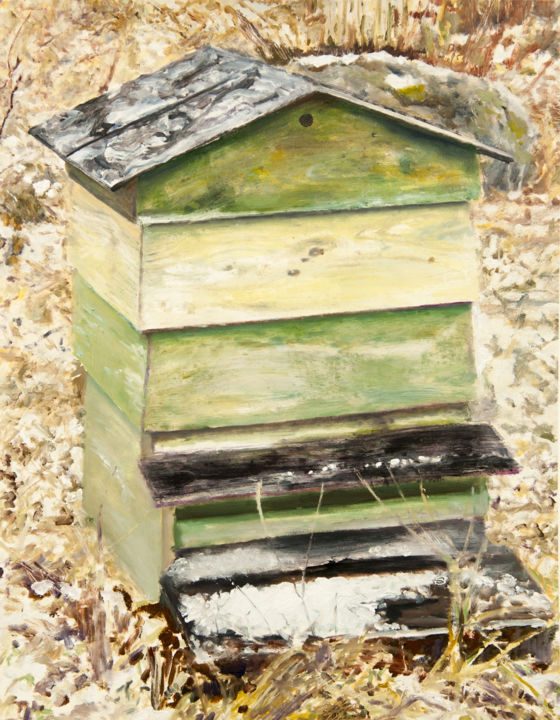 """Painting titled """"Winter Beehive"""" by David Dodsworth, Original Art, Oil Mounted on Cardboard"""