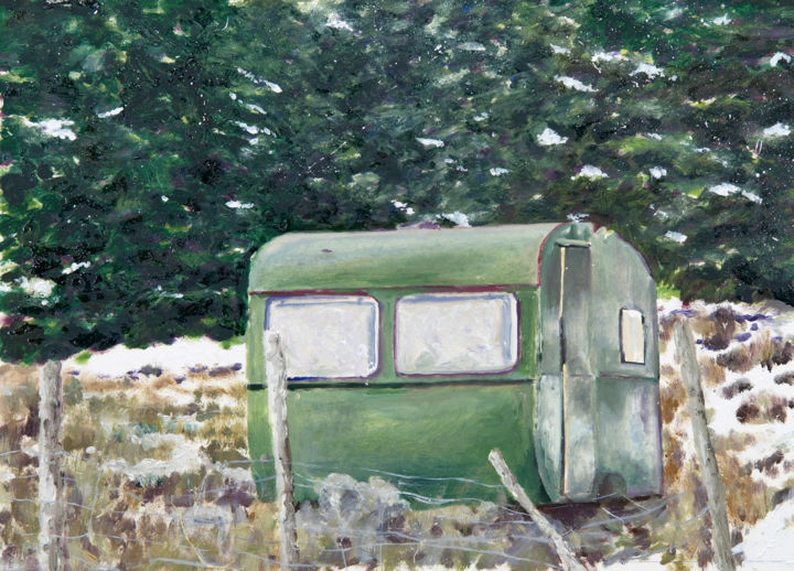 """Painting titled """"Winter Bothy"""" by David Dodsworth, Original Art, Oil Mounted on Cardboard"""