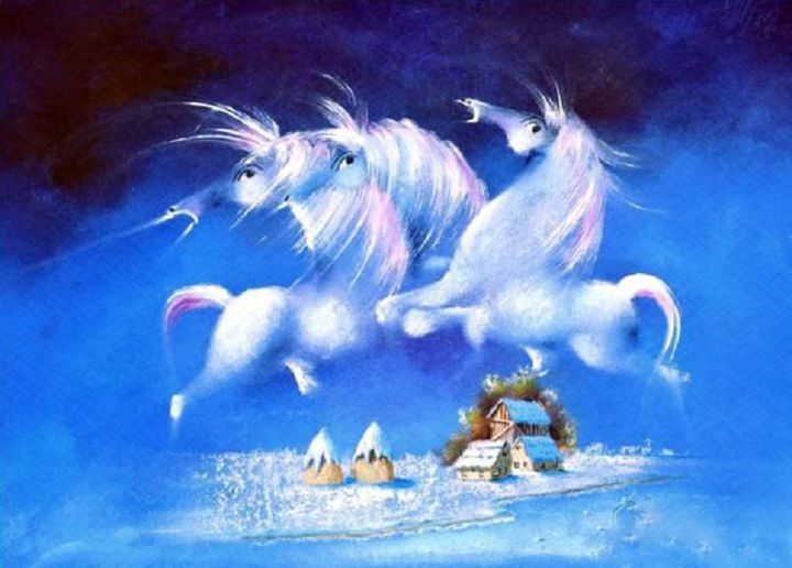 Three Angel Horses - Painting,  1,440x1,436x5 cm ©2008 by David Berkowitz Chicago -