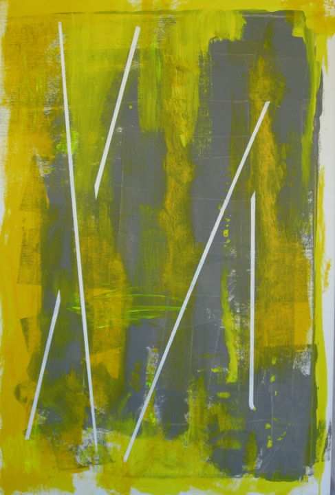"""Painting titled """"Linear Yellow #1"""" by David Maggard, Original Art, Acrylic"""