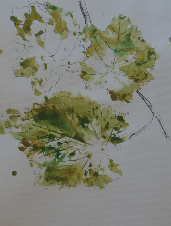 """Painting titled """"Grape Leaves"""" by David Maggard, Original Art, Ink"""