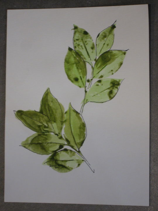"""Painting titled """"Camellia leaves #1"""" by David Maggard, Original Art, Acrylic"""