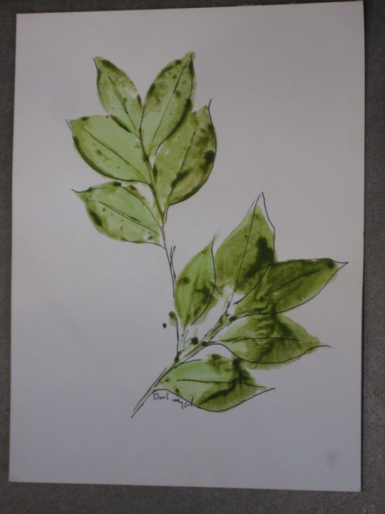 """Painting titled """"Camellia Leaves #2"""" by David Maggard, Original Art, Acrylic"""
