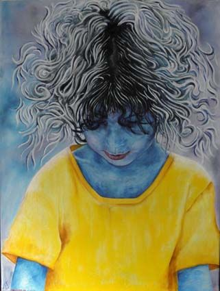 yasmine - Painting,  80x60 cm ©2005 by david teszler -                                                            Contemporary painting, Canvas, Children, portret of my grand daughter