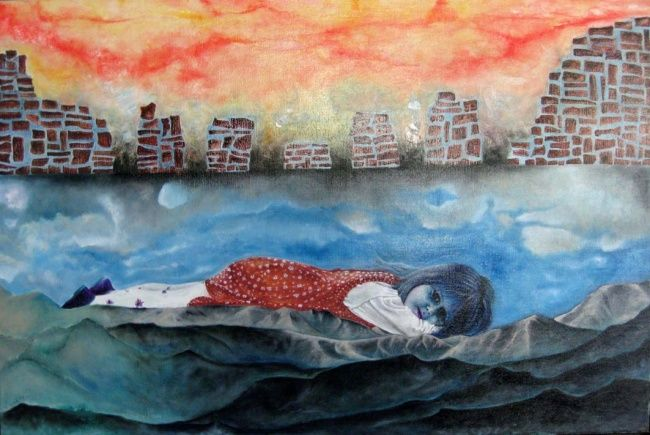 nikki sleeping - Painting,  60x90 cm ©2001 by david teszler -            nikky